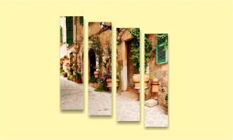 старый город двор улица европа цветы в горшках