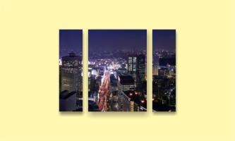 ночные небоскребы дорога вид сверху