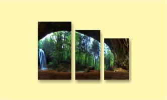 лес водопад пещера